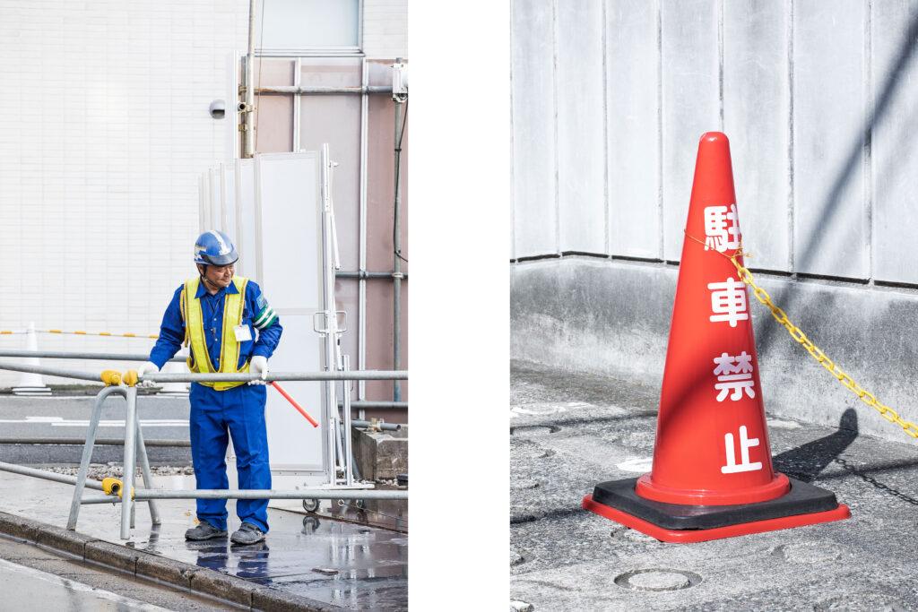 Tokyo streets, Japanese worker, traffic cone, Daikanyama, Tokyo street photography
