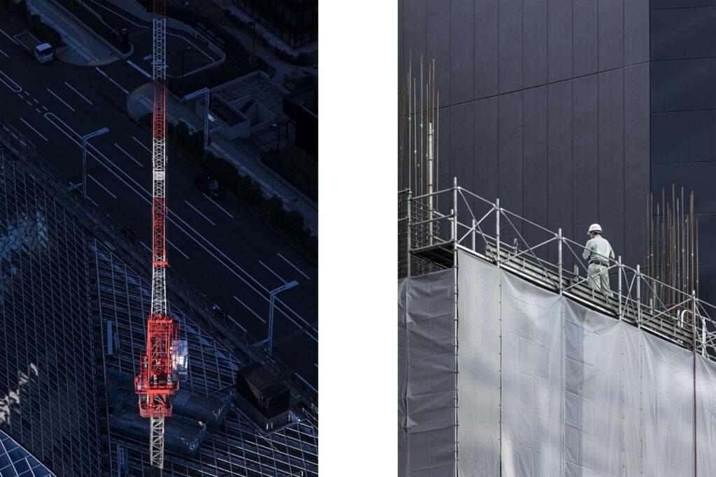 Tokyo streets, Japanese worker, crane, skycraper, Shinjuku, Tokyo street photography