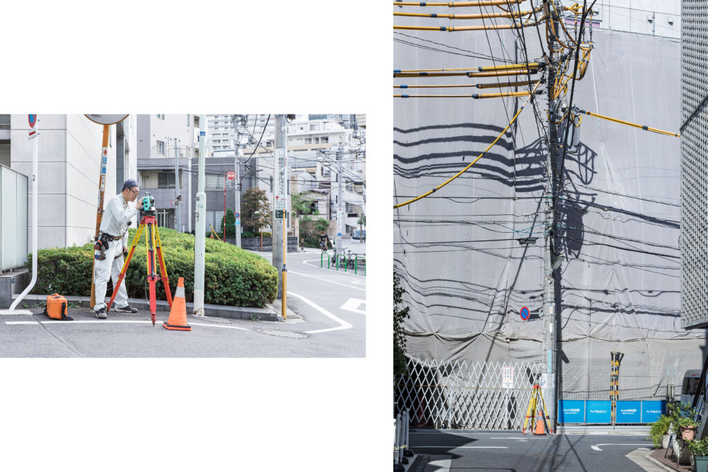 Tokyo streets, Japanese worker, electrical wires, Tokyo street photography