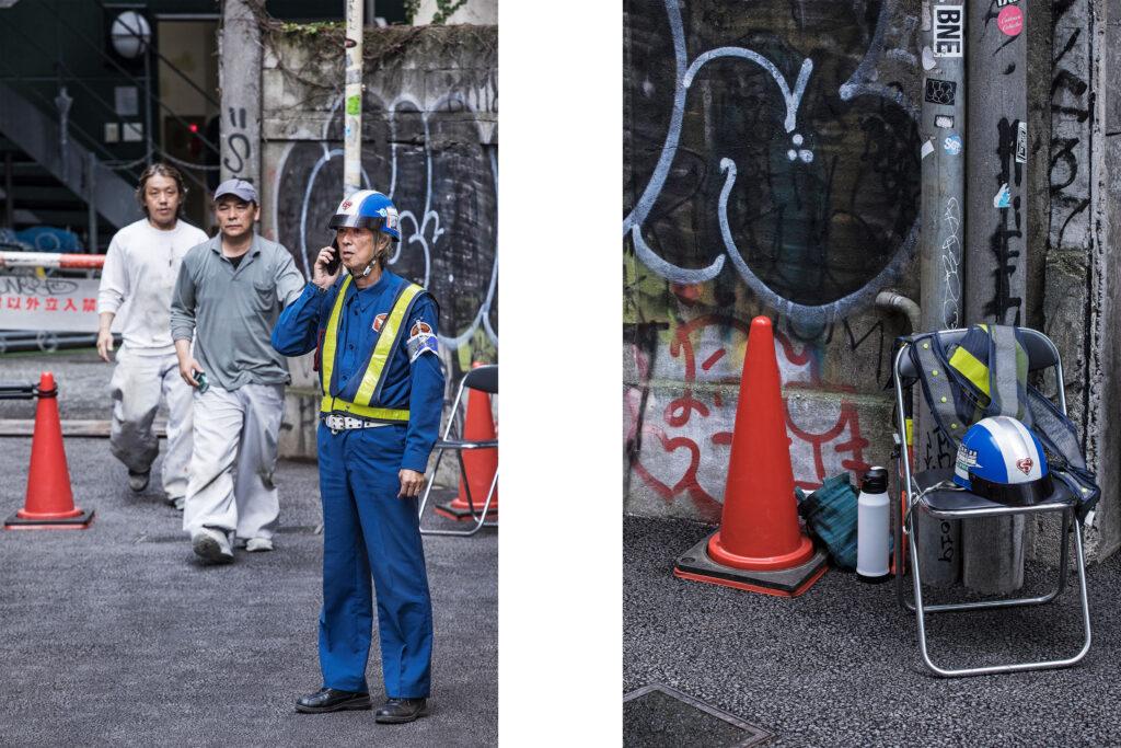 Japanese workers, Tokyo streets, traffic cone, Harajuku, Tokyo street photography