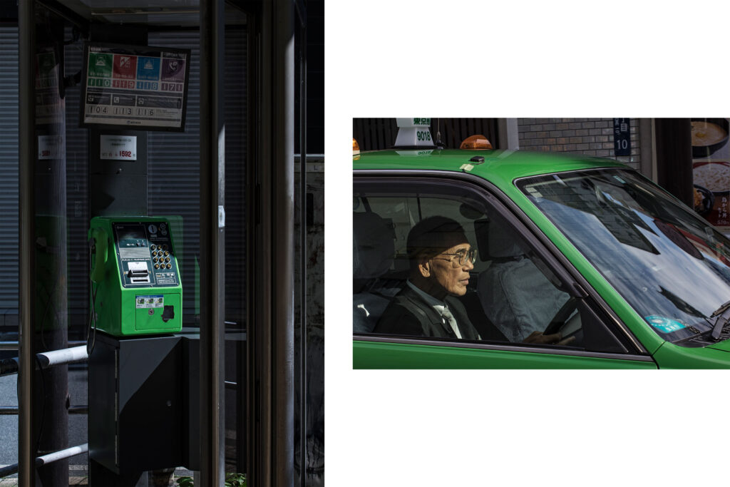 Tokyo streets, phone booth, Japanese taxi driver, Tokyo street photography