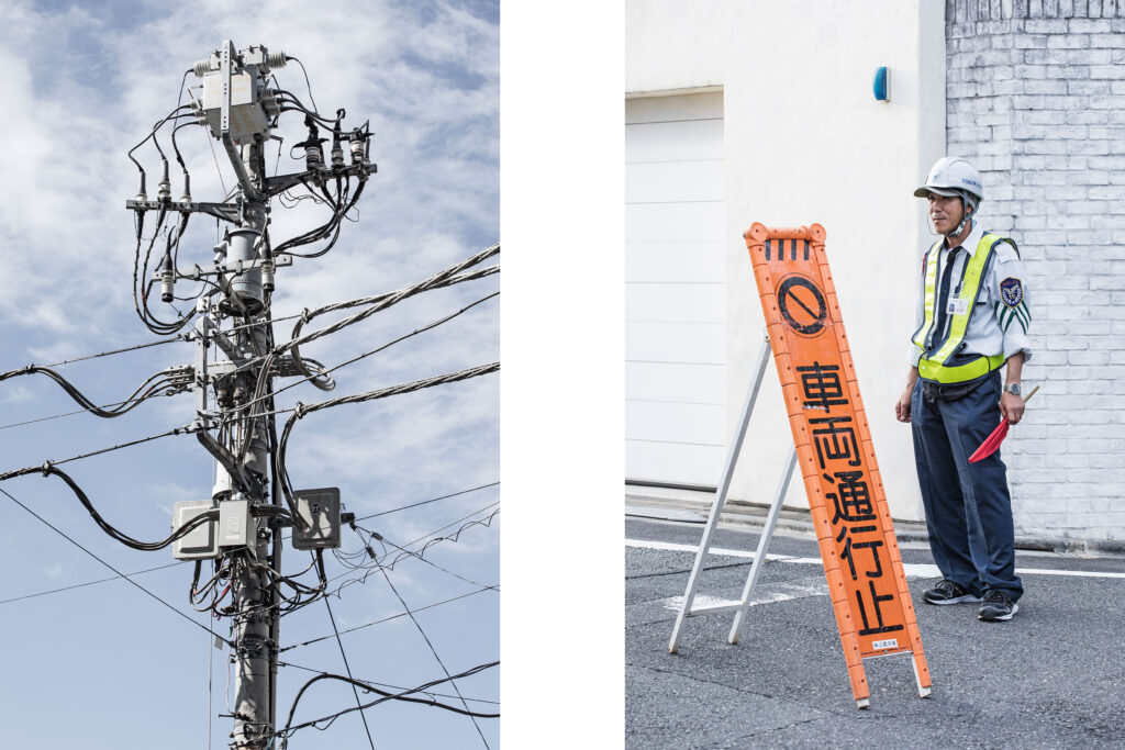 Tokyo streets, electrical wires, Japanese worker, Daikanyama, Tokyo street photography