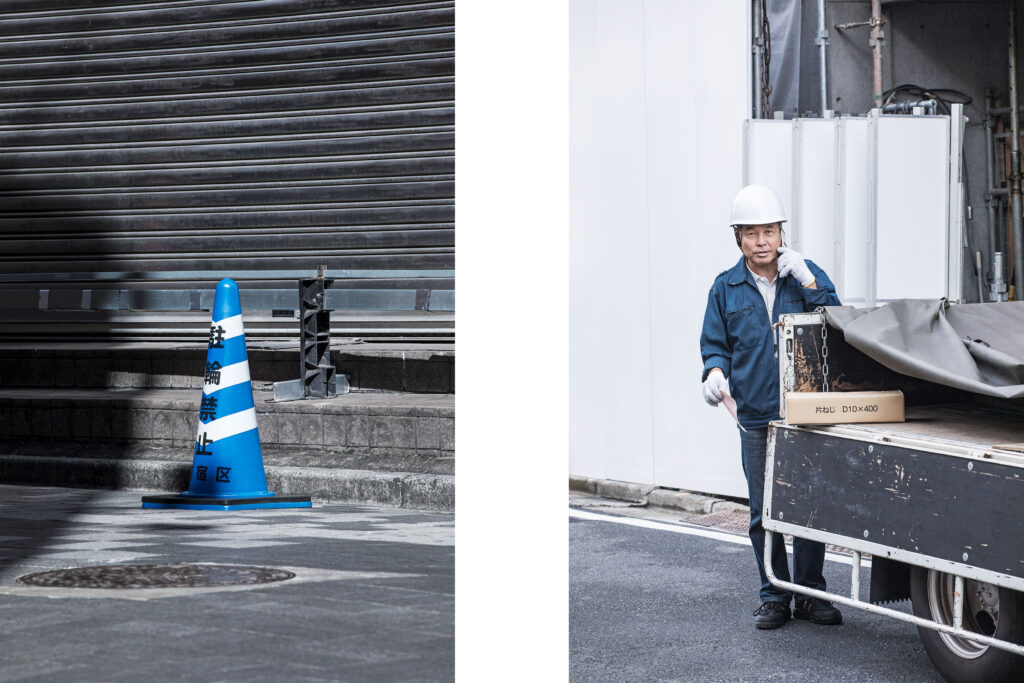 Tokyo streets, traffic cone, Japanese worker, Tokyo street photography