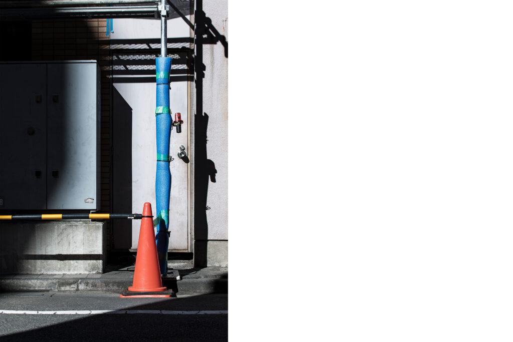 Tokyo streets, traffic cone, Tokyo street photography